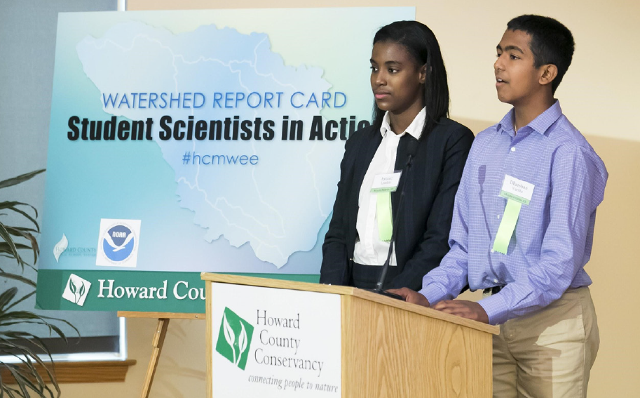 Image of students from Howard County, MD sharing the watershed report card results from their MWEE.
