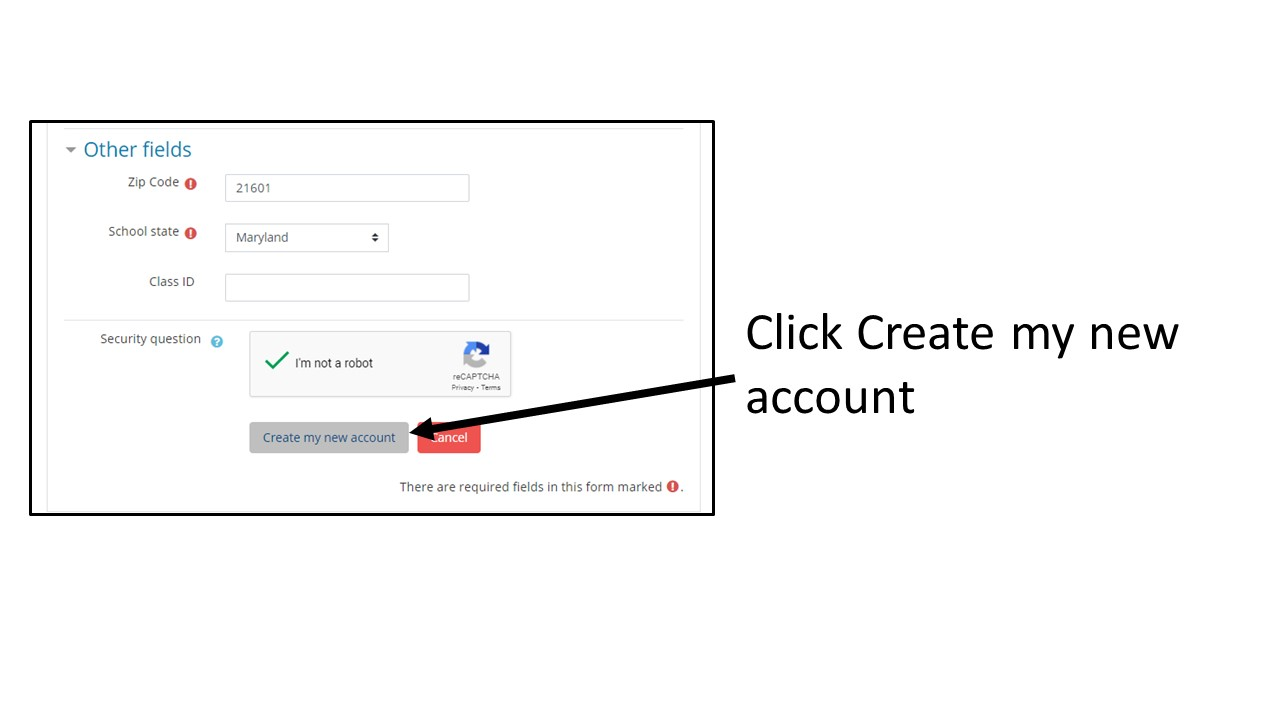 """Image: Screenshot of new account form, arrow pointing to """"Create my new account"""" button Text: Click Create my new account"""